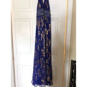 Purple and Gold Size 0 Prom Dress